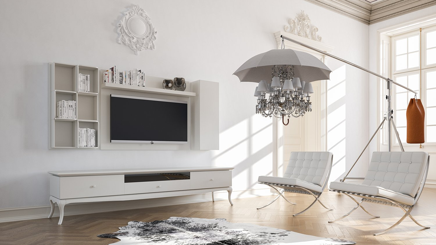 Camellia ensemble meuble TV blanc